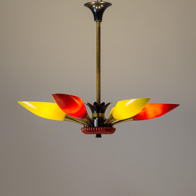 Anodized Colorful French Modern Chandelier, circa 1960 For Sale