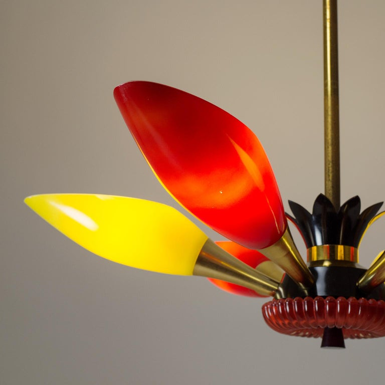 Colorful French Modern Chandelier, circa 1960 In Good Condition For Sale In Vienna, AT