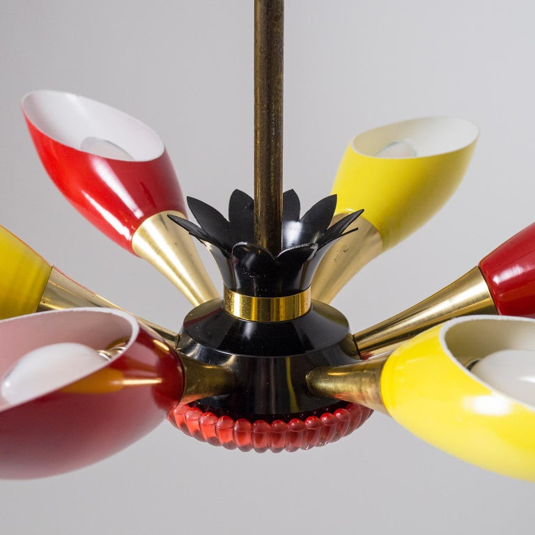 Aluminum Colorful French Modern Chandelier, circa 1960 For Sale