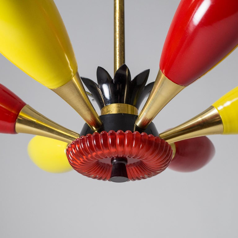 Colorful French Modern Chandelier, circa 1960 For Sale 1