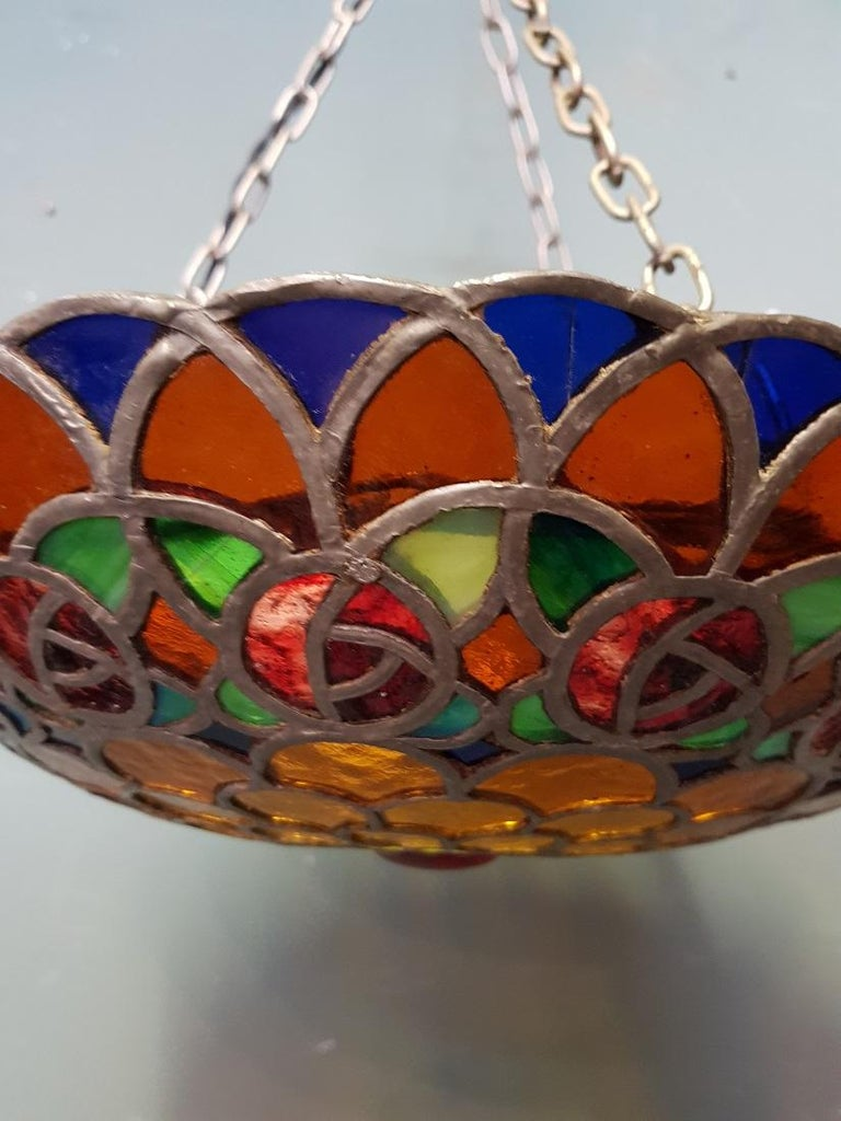 Colorful French Stained Glass Pendant with Rainbow Colors, 1st half 20th century In Good Condition For Sale In Raalte, NL