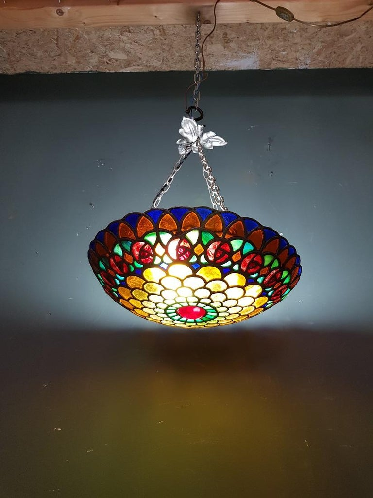 Colorful French Stained Glass Pendant with Rainbow Colors, 1st half 20th century For Sale 1