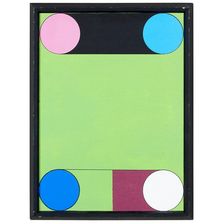 Colorful Geometric Painting on Canvas by Kenneth Licht For Sale