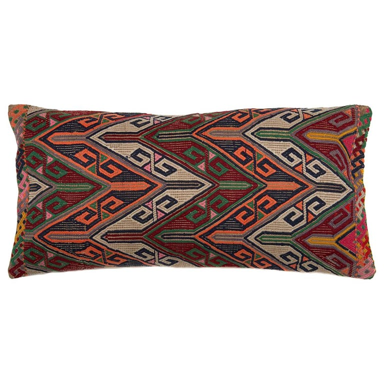 Colorful Geometric Tribal Turkish Embroidered Lumbar Pillow For Sale