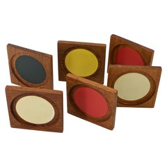 Colorful Graphic Design Teak Cocktail Coasters Midcentury Palm Springs Vibe