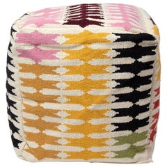 Colorful Graphic Modern Geometric Pouf Ottoman Stool Handwoven Wool