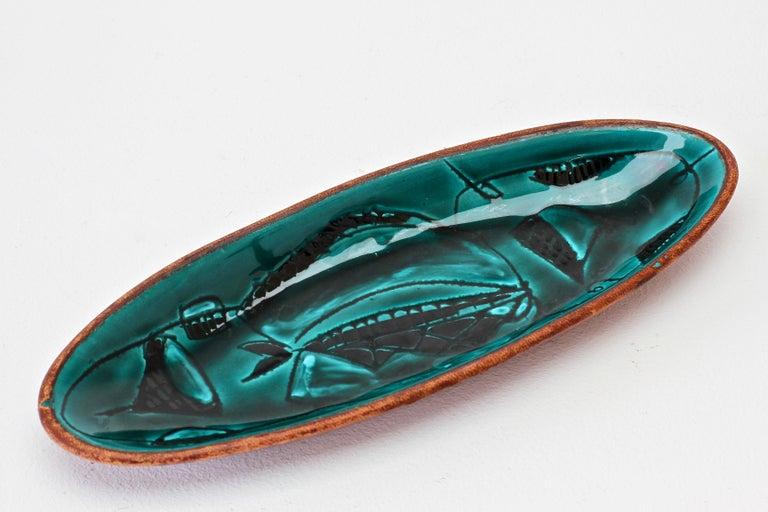 Colorful Green Italian Glazed Ceramic Leather Bound Dish Marcello Fantoni Style For Sale 2