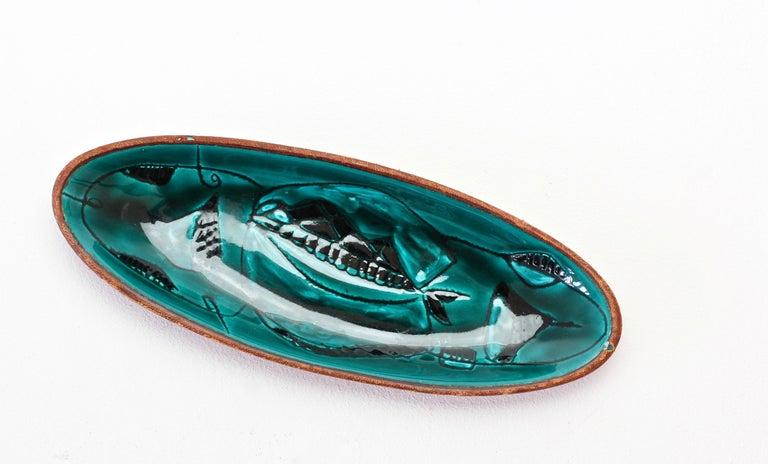 Colorful Green Italian Glazed Ceramic Leather Bound Dish Marcello Fantoni Style For Sale 4