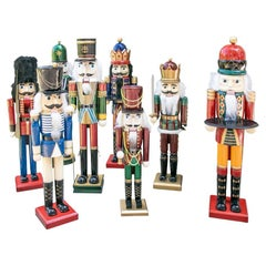 Colorful Group of 8 Large Painted Wooden Nut Cracker Figures