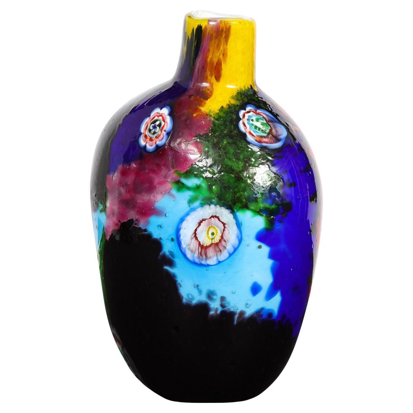 Colorful Handblown Glass Vase by A.V.E.M. 1960s
