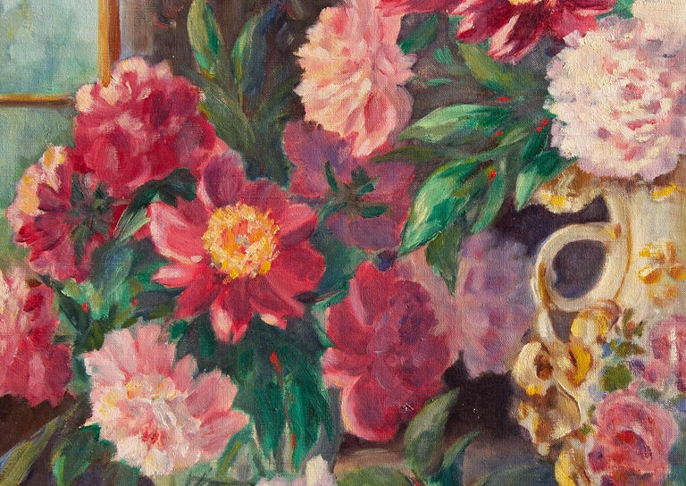 Early 20th century floral still life painting. Vibrant colors. Oil on canvas. Illegibly signed. Unframed.