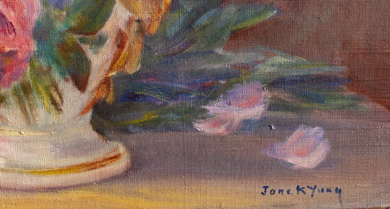 Colorful Impressionist Floral Still Life Painting, Early 20th Century In Good Condition In Rochester, NY