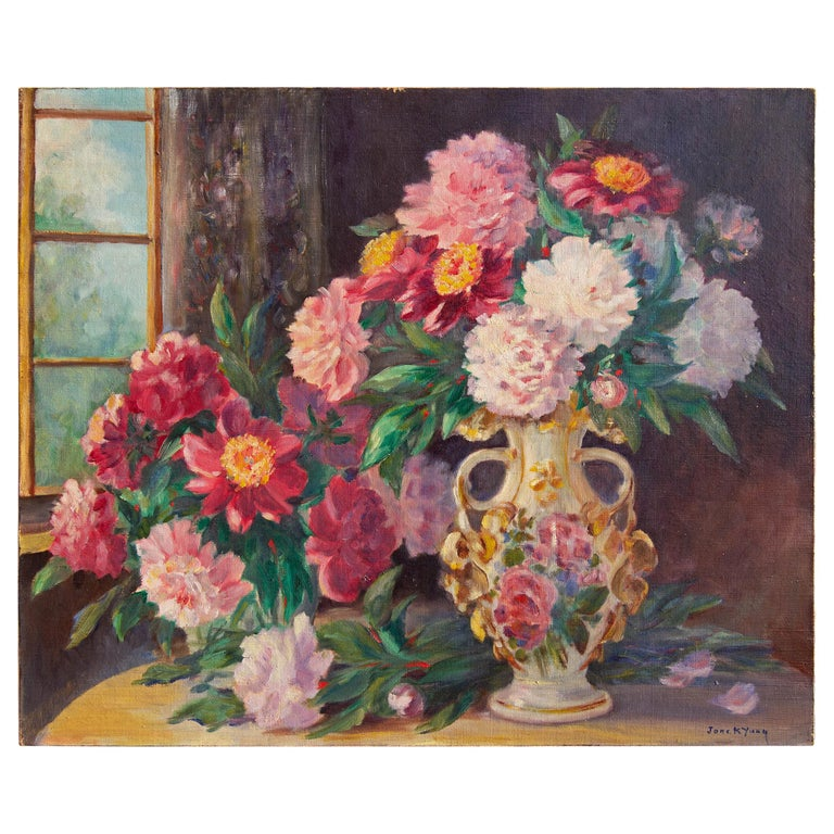 Colorful Impressionist Floral Still Life Painting, Early 20th Century