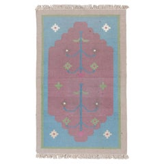 Colorful Indian Dhurrie Art Deco Scatter Rug, Blue & Pink Field