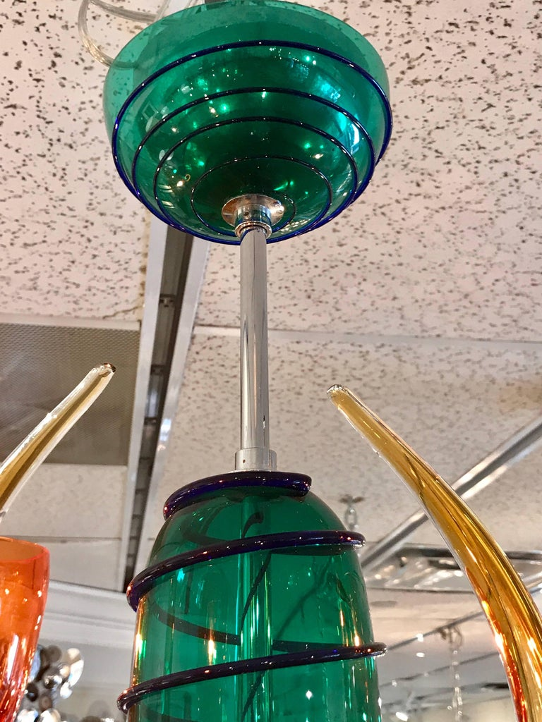 Colorful Italian Artimede Ve-Art Glass Chandelier in the Manner of Gio Ponti For Sale 1