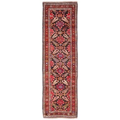Colorful Jewel-Toned Antique Caucasian Karabagh Runner with Tribal Design