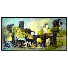 Colorful  Large Oil on Canvas Mexican Village Painting by James C Fredericks