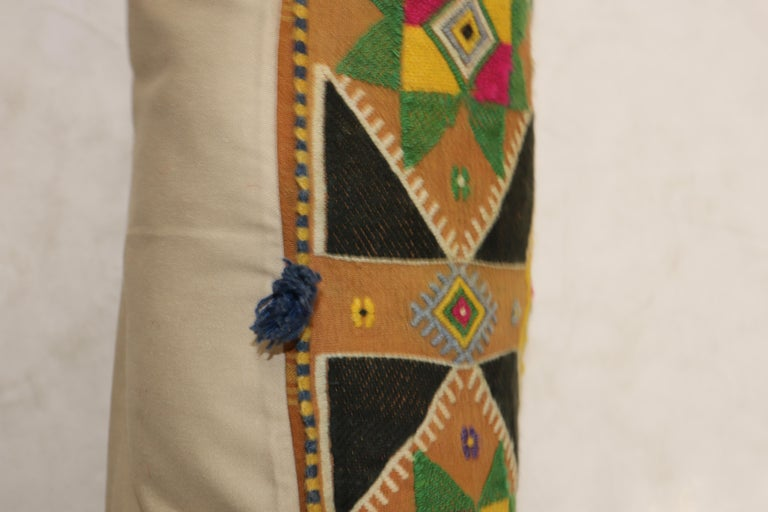 Large pillow made from a colorful Indian textile.  Measures: 15