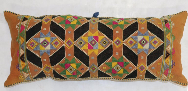 Colorful Large Vintage Hand Knotted Indian Textile Bolster Pillow In Good Condition For Sale In New York, NY