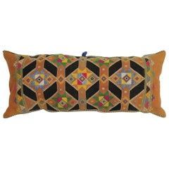 Colorful Large Vintage Hand Knotted Indian Textile Bolster Pillow