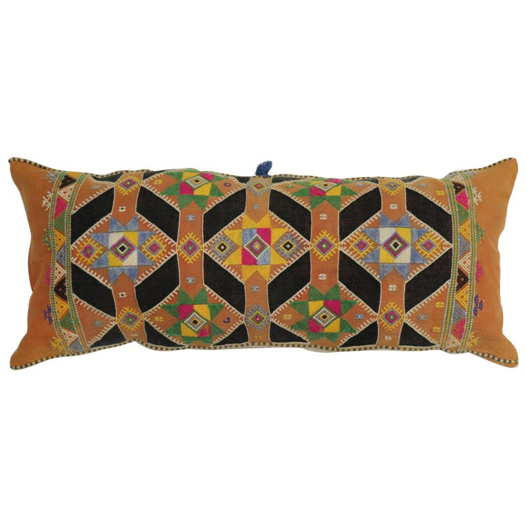 Colorful Large Vintage Hand Knotted Indian Textile Bolster Pillow For Sale
