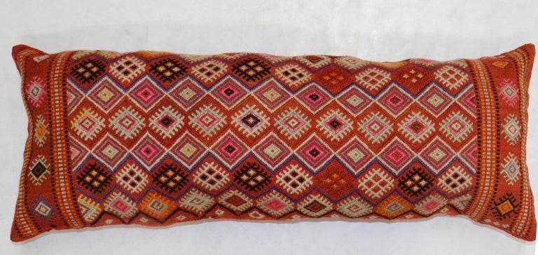 Bohemian Colorful Large Vintage Hand Knotted Jajim Bolster Pillow For Sale