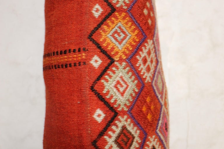 Colorful Large Vintage Hand Knotted Jajim Bolster Pillow In Good Condition For Sale In New York, NY