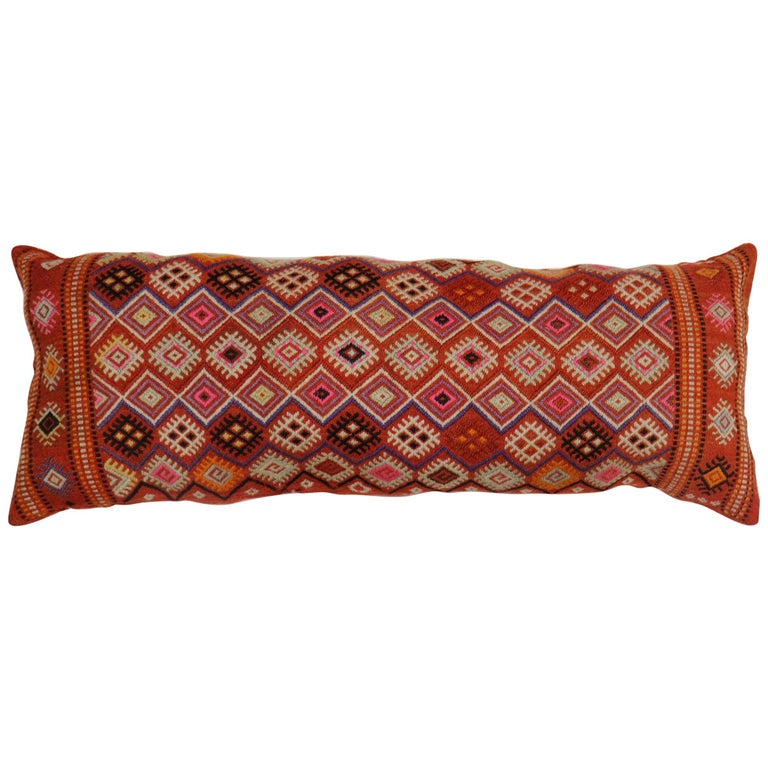 Colorful Large Vintage Hand Knotted Jajim Bolster Pillow For Sale