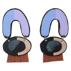 Colorful Leather Dangle Fringe Post Earrings
