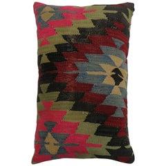 Colorful Lumbar Large Bohemian Turkish Kilim Rug Pillow