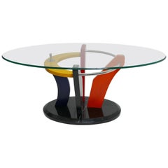 Colorful Memphis Style Oval Coffee Table with Black Marble Base, circa 1980