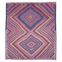 Colorful Mid-20th Century Handmade Turkish Flat-Weave Kilim Square Room Size Rug