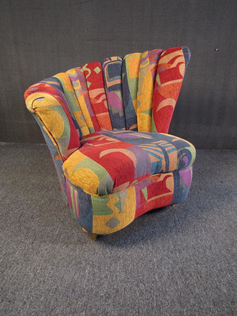 Colorful Mid-Century Modern Designer Club Chairs In Good Condition For Sale In Brooklyn, NY