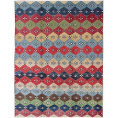 Colorful Mid-Century Modern Rug Turkish Modern Design