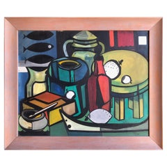 Colorful Midcentury Still Life with Bottles and Fish