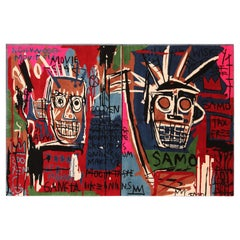 Colorful Modern Basquiat Inspired Art Area Rug. 6 ft 6 in x 9 ft 9 in