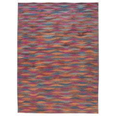 Colorful Modern Flat-Weave Kilim Room Size Wool Rug
