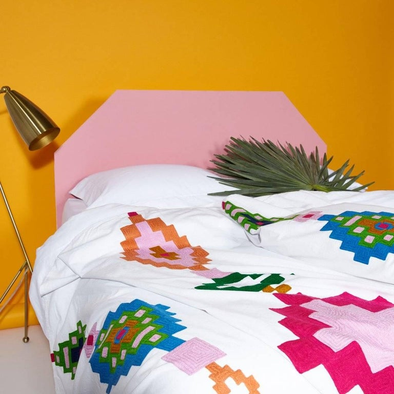 Add a punch of color and texture with this striking, geometric embroidered coverlet.  100% cotton. Medium weight. 300 thread count.   Embroidered bedspread, would also make a beautiful wall hanging.   Queen size 90