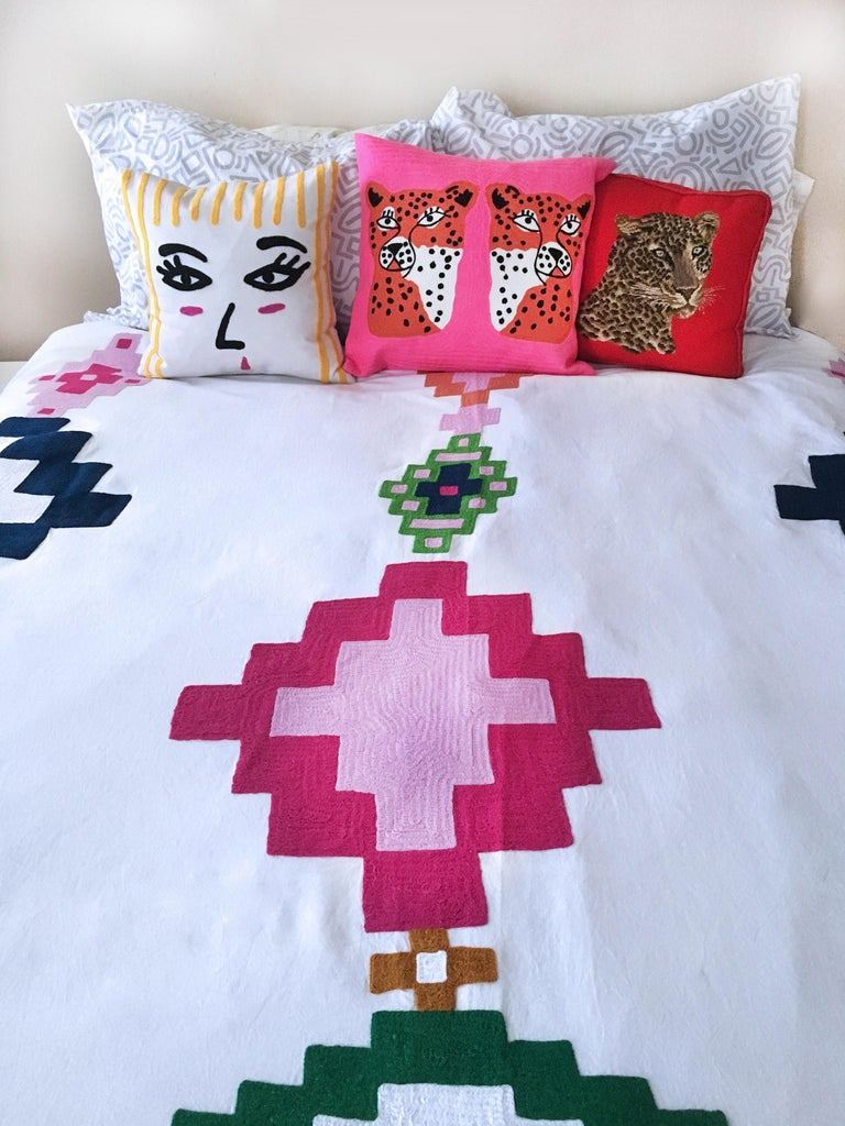 Indian Colorful Modern Geometric Embroidered Coverlet For Sale