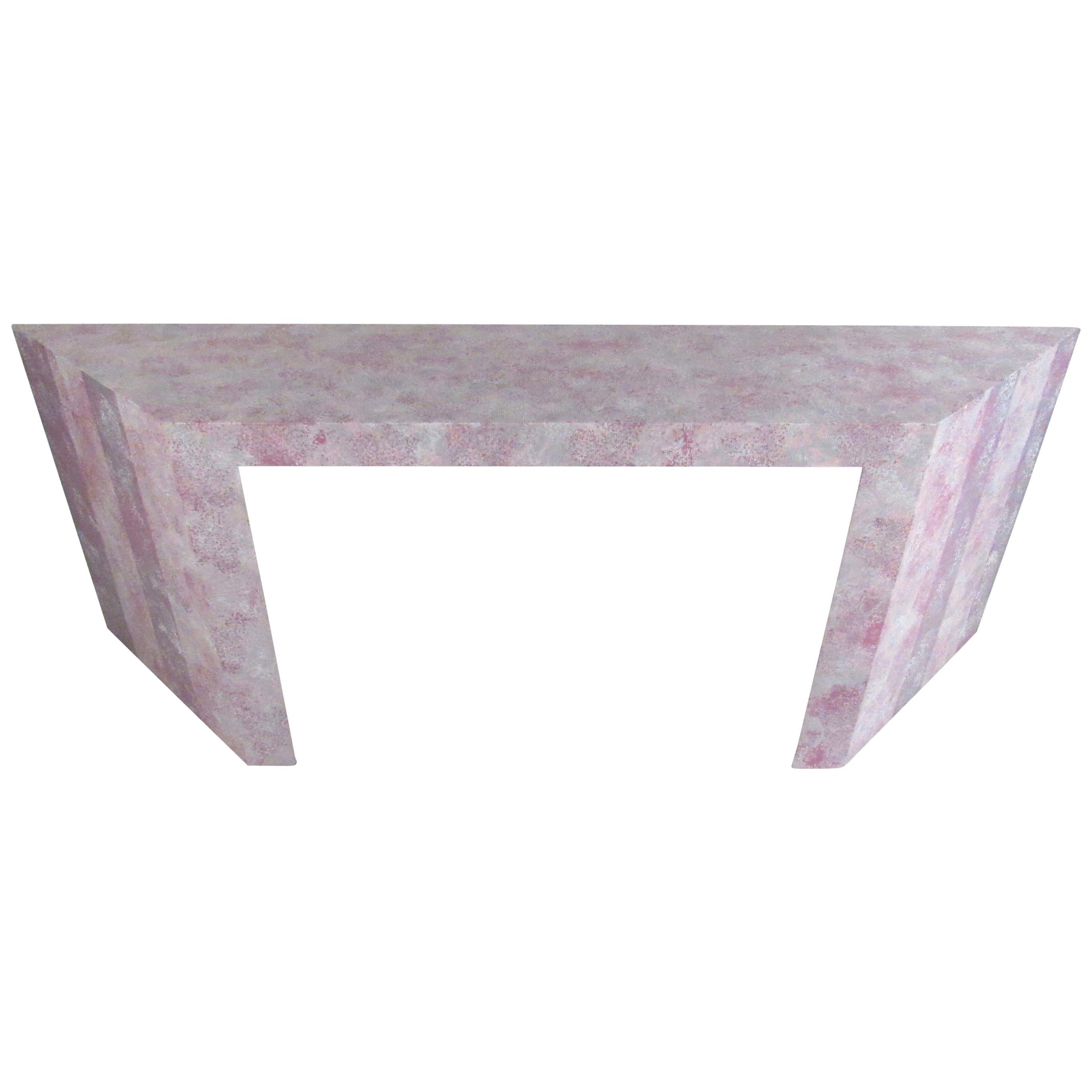 Colorful Modern Grasscloth Console Table