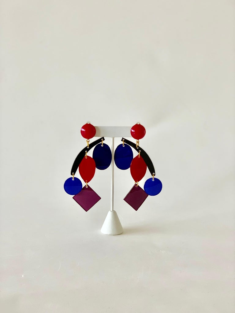 Contemporary Colorful Modern Mobile Sculptural Statement Earrings For Sale