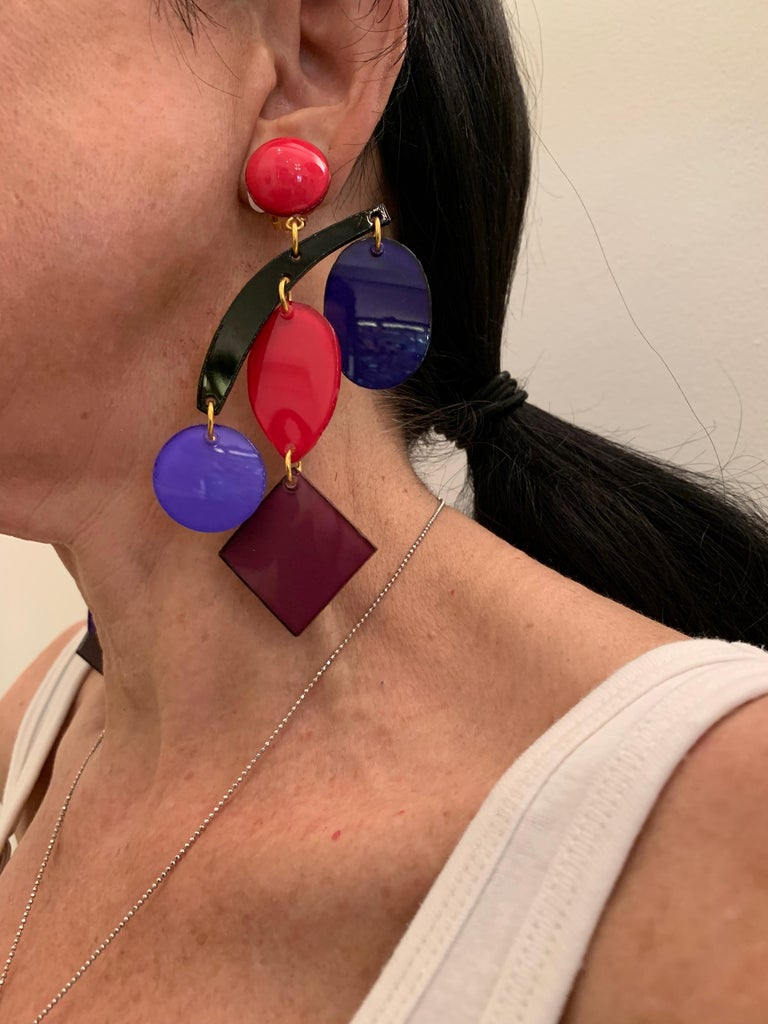 Colorful Modern Mobile Sculptural Statement Earrings In New Condition For Sale In Palm Springs, CA