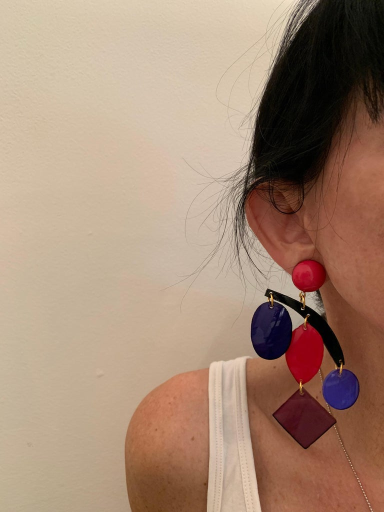 Colorful Modern Mobile Sculptural Statement Earrings For Sale 1