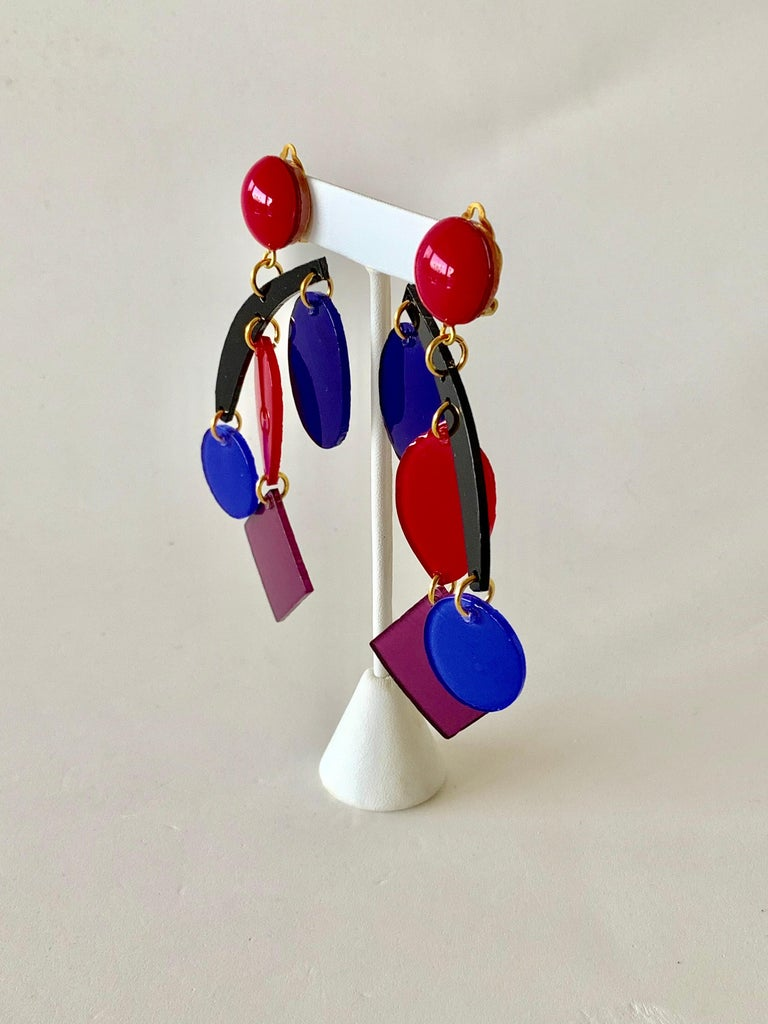 Colorful Modern Mobile Sculptural Statement Earrings For Sale 2
