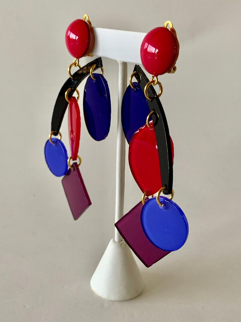 Colorful Modern Mobile Sculptural Statement Earrings For Sale 3
