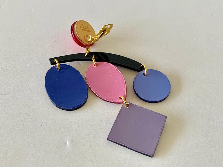 Colorful Modern Mobile Sculptural Statement Earrings For Sale 4