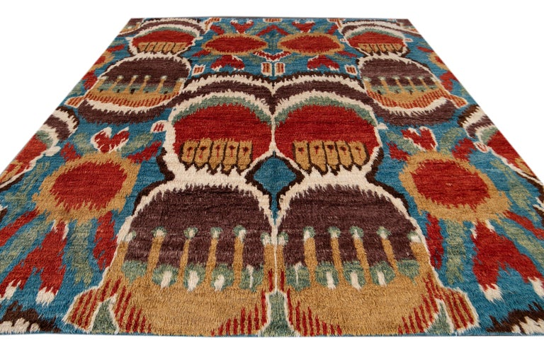 Colorful Modern Moroccan-Style Handmade Wool Rug For Sale 4