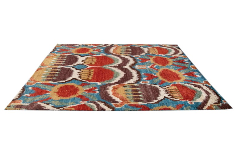 Colorful Modern Moroccan-Style Handmade Wool Rug For Sale 5