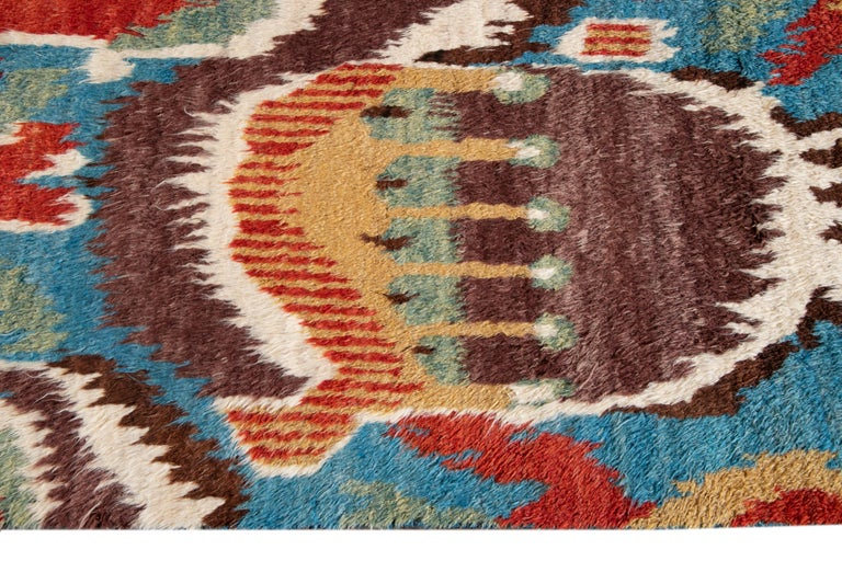 Colorful Modern Moroccan-Style Handmade Wool Rug For Sale 6