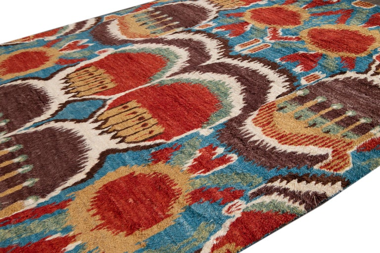 Colorful Modern Moroccan-Style Handmade Wool Rug For Sale 7